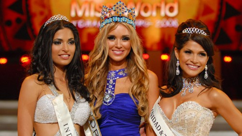 Miss World_2008 with 1st RU Miss India and 2nd RU Miss Trinidad & Tobago