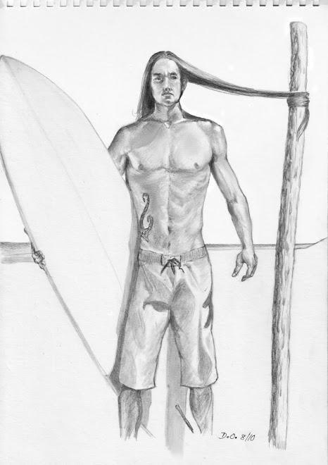 Surfer aux cheveux longs
