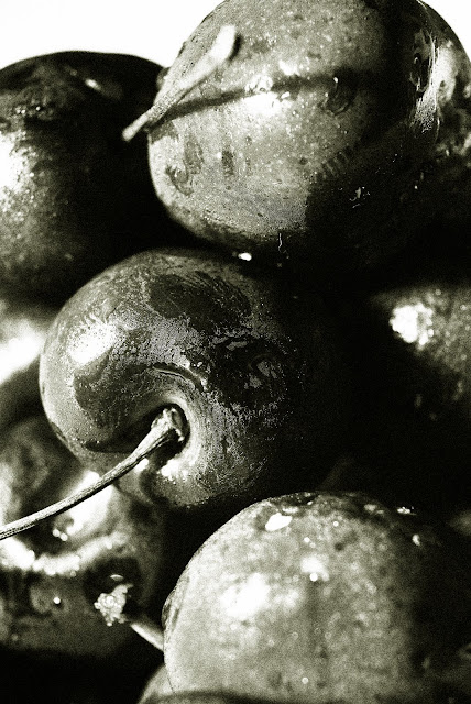 Cherries+BandW #18 Cherries, black and white