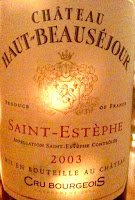 BordeauxHautBeau2003 France, Bordeaux Blend, Chateau Haut Beausejour, 2003