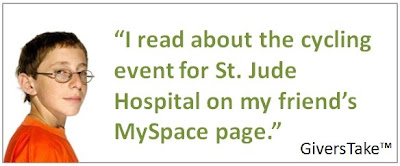 Givers Take Image, I read about the cycle event for St. Jude Hospital on my friend's MySpace page.