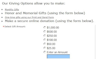 Example of a bad donation page