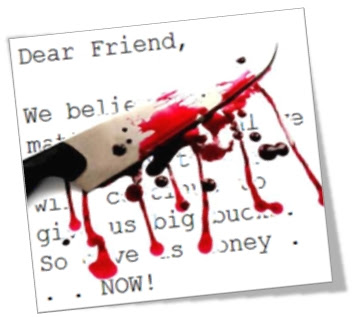 Image of a Dear Friend Letter with a knife and blood