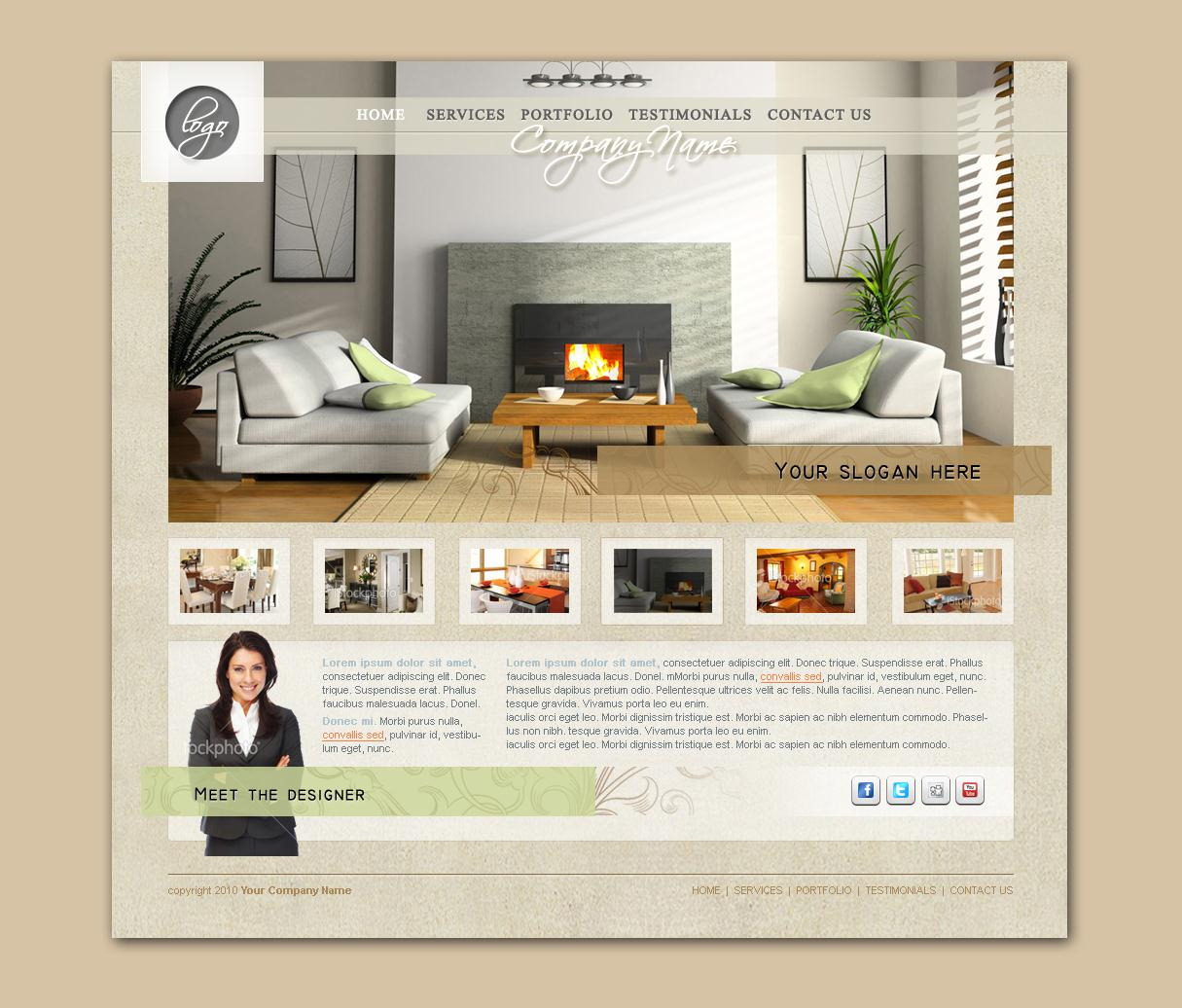 Interior Design Homepage Template Design Dezignation