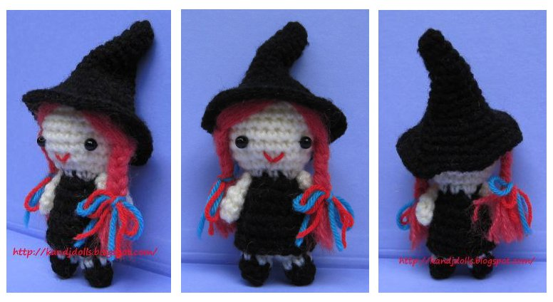 1500 Free Amigurumi Patterns: Little witch crochet pattern for