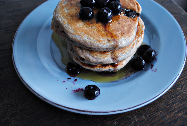 Blueberry Buckwheat Pancakes for breakfast. Sadly not made from ...