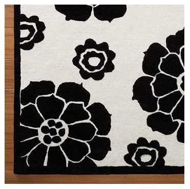 PB Teen Nouveau floral rug. Black and white is always classic.