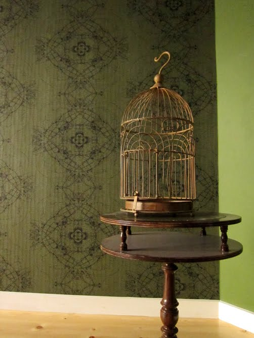 our fancy new glorious wallpaper and a birdcage. oh it39s gonna be so