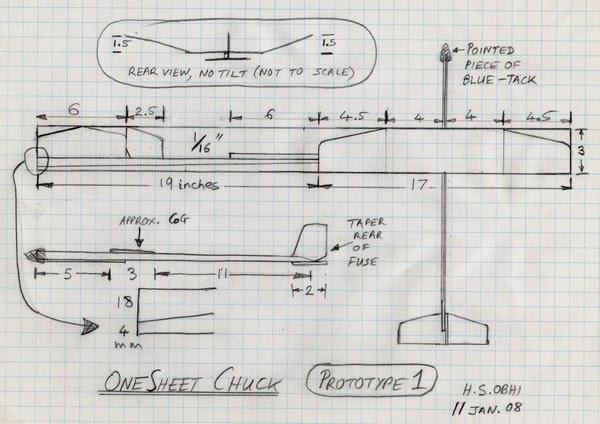 """Chuck Glider's Model Aircraft Jotter: Chuck Glider from one 1/16"""" balsa sheet: Part 2, PLAN"""