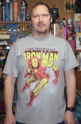 Jamdin wearing Iron Man t-shirt