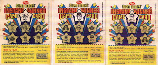 fronts of three Post Super Heroes instant winner game cards