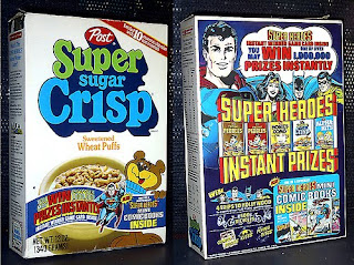 Super Sugar Crisp cereal box promoting Post Super Heroes mini comics