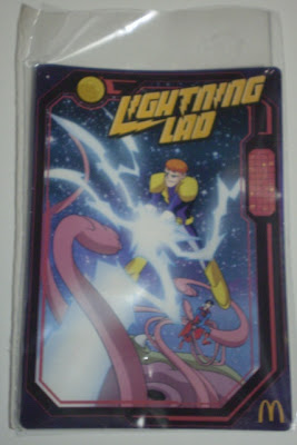 front of McDonald's Lightning Lad trading card