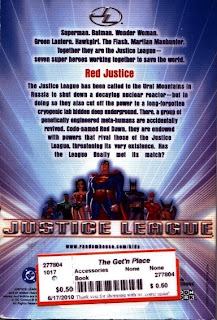 Back cover of Red Justice book based on Justice League cartoon