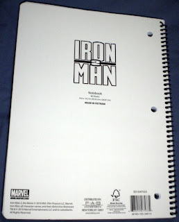 Back cover of Iron Man 2 flying notebook