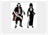 Vampire and Elvira costumes at Superhero City