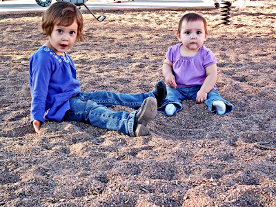 Afton and Delaney playing in sand