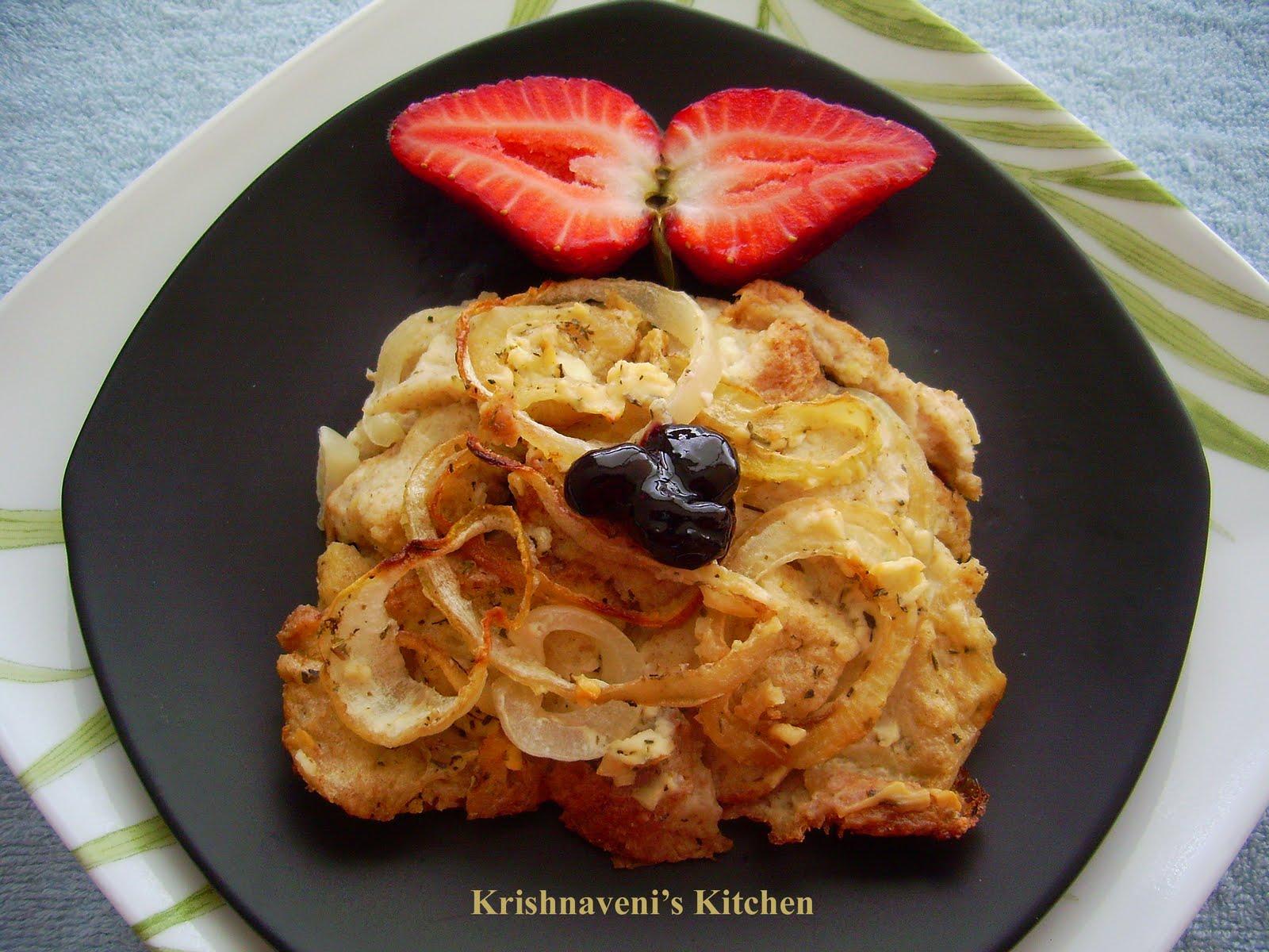 Krishnaveni's Kitchen: Low Fat Onion Bread Pudding