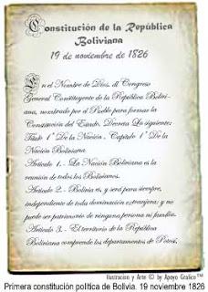 TEXTO DE LA PRIMERA CONSTITUCIÓN POLÍTICA DE BOLIVIA DE 19 NOVIEMBRE 1826© ApoyoGrafico™