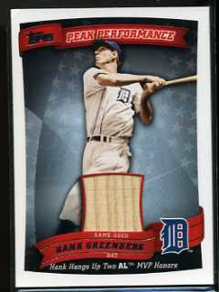 2010 Topps Collin Peak Performance Hank Greenberg Relic Card