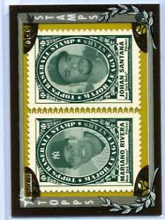 2010 Topps Heritage Mariano Rivera/Johan Santana Framed Stamps
