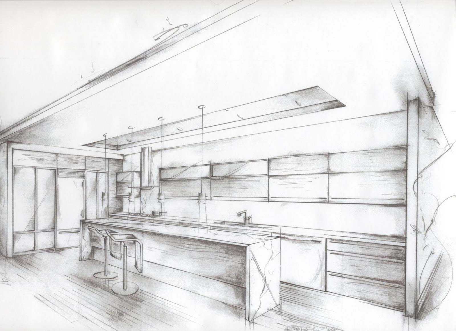 Modern kitchen drawings home design and decor reviews for Interior designs drawings