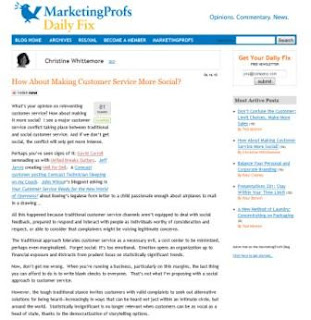 How About Making Customer Service More Social? on MarketingProfs Daily Fix