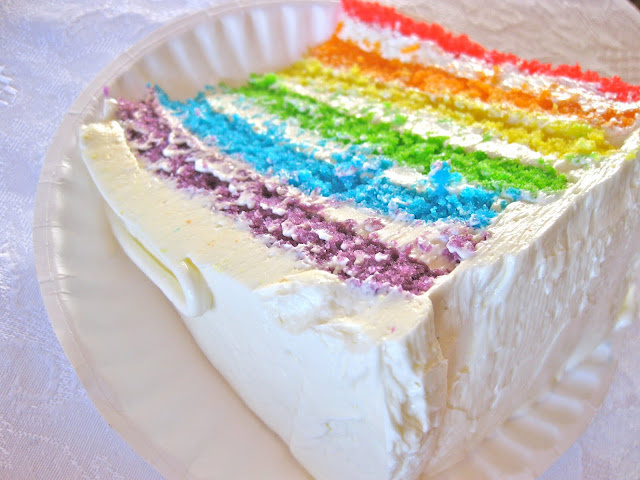whisk kid rainbow layer cake with lemony swiss meringue buttercream. This would make a great rainbow wedding cake!