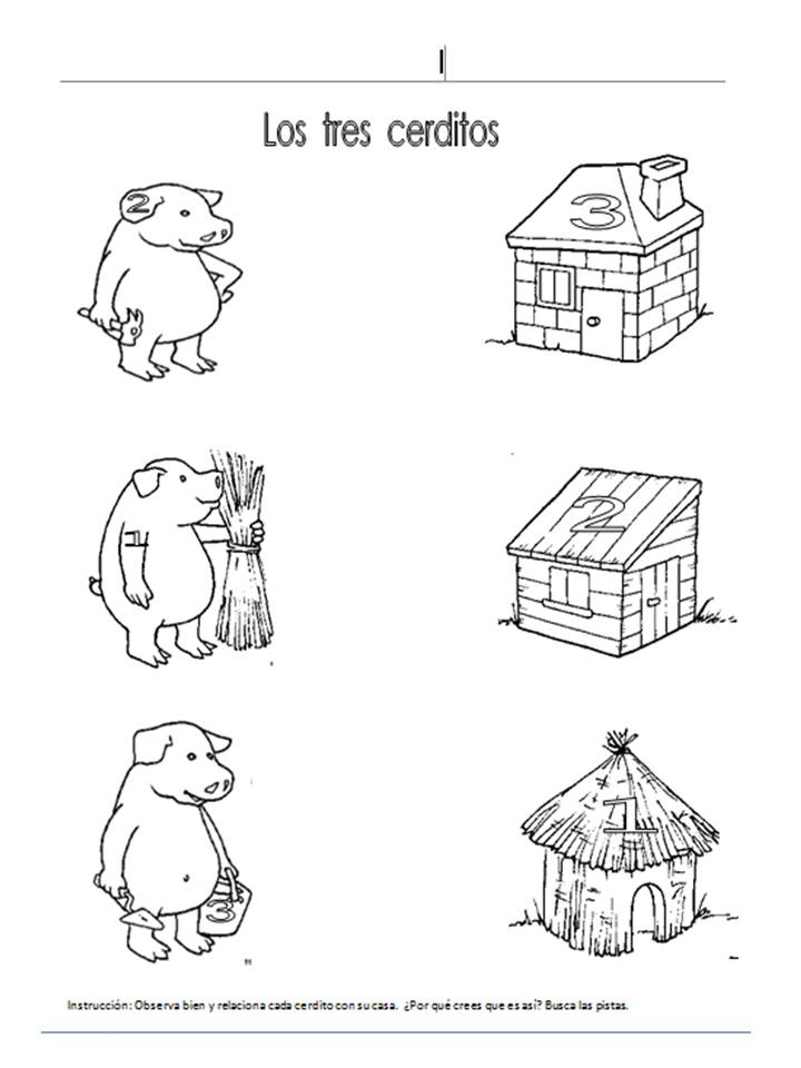 descubrir por las pistas cual es la casa de cada uno de los cerditos