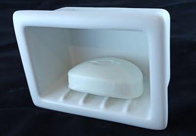 Nothing Shiny Recessed Ceramic Soap And Shampoo Shelves