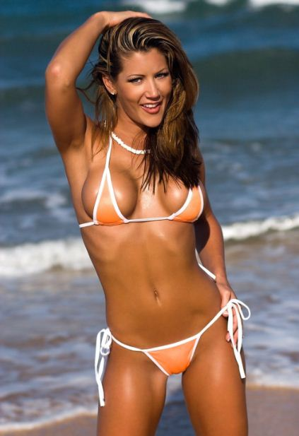 Sexy Girl Randi Jackson in Orange Bikini HQ Photo Shoot