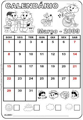 Calendário de março educação para crianças