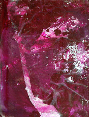 contemporary abstract magenta acrylic sheet painting by Tiffany Gholar