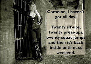 blonde femdom prison exercise caption