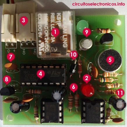 Circuito electrónico con sus componentes numerados