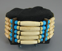 The First Bracelet Has Five Rows Of Bone Hairpipe Beads And Teal Blue White Heart It Is Closely Ociated With American Indian