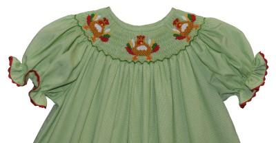 Smocked Thanksgiving   Smocked Carousel Bishop Dress