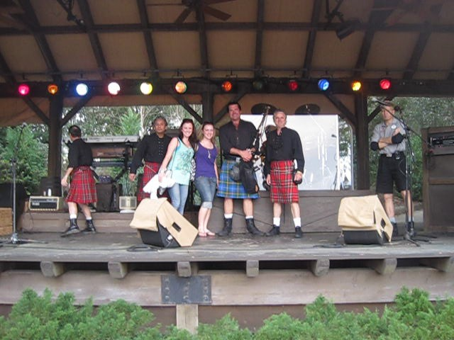 Onstage with the Celtic Rock Band