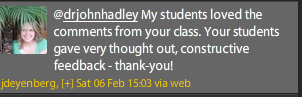 Twitter message thanking class for student blog comments
