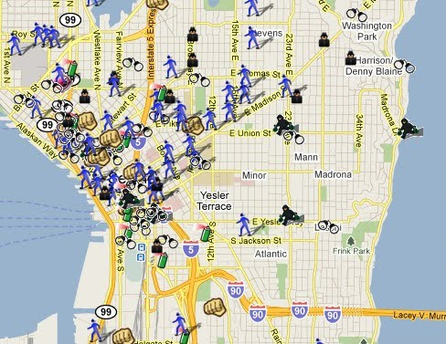 The Pacific Northwest Crime Maps SpotCrime The Publics Crime Map - Seattle map neighborhood guide