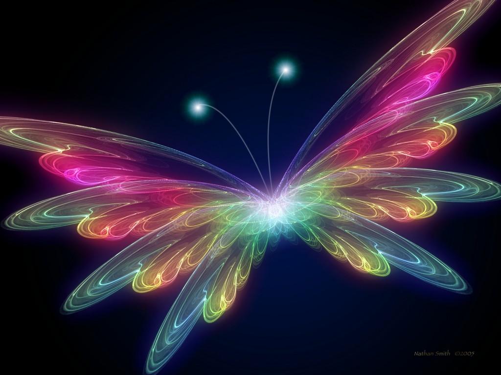 Neon Art Butterfly Wings Wallpaper