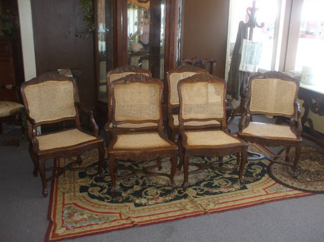 seated chairs two arm and four side chairs these have pretty floral