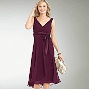 JCP-Jones Wear Satin Tie Waist Dress Maroon