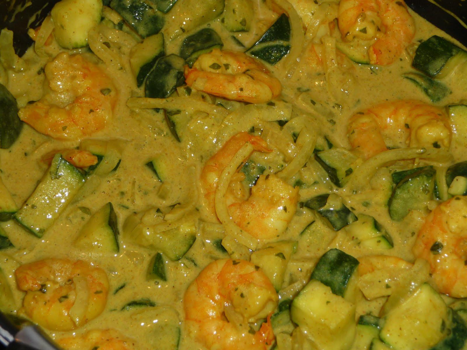 recette cuisine curry de courgettes aux crevettes