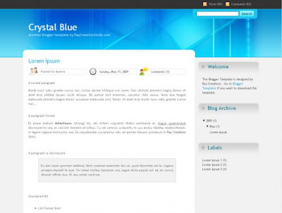 Blogspot template Crystalblue
