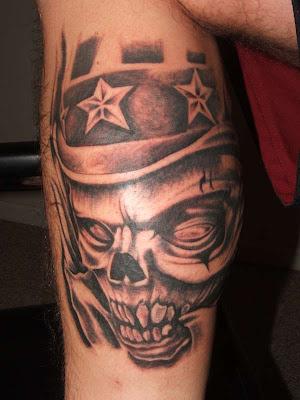 Human skull tattoo design