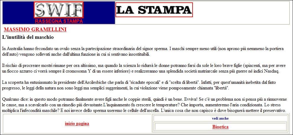 L'INUTILITA' DEL MASCHIO - 11\07\2001 - La Stampa