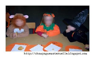 fête des citrouilles à l'école maternelle, un gouter d'halloween avec toutes les classes