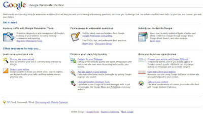 google webmasters tools features