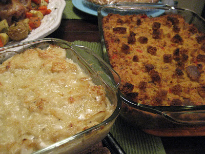 Scalloped potatoes and cornbread stuffing (wait, dressing, right ...